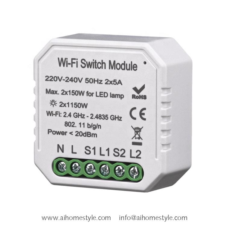 2 Gangs Wi-Fi Switch Module