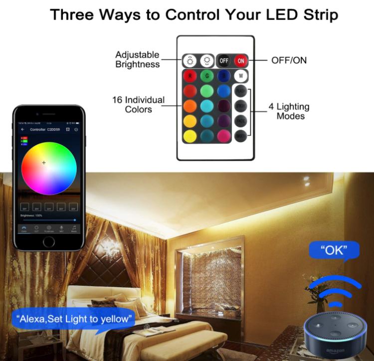 12V RGBW WiFi smart  light strip with remote