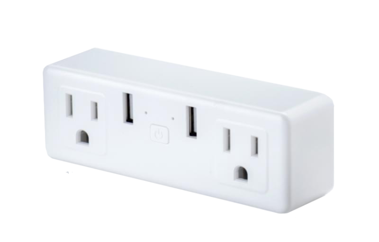 US Smart Double Plug With 2 USB Control Two Socket Invidually
