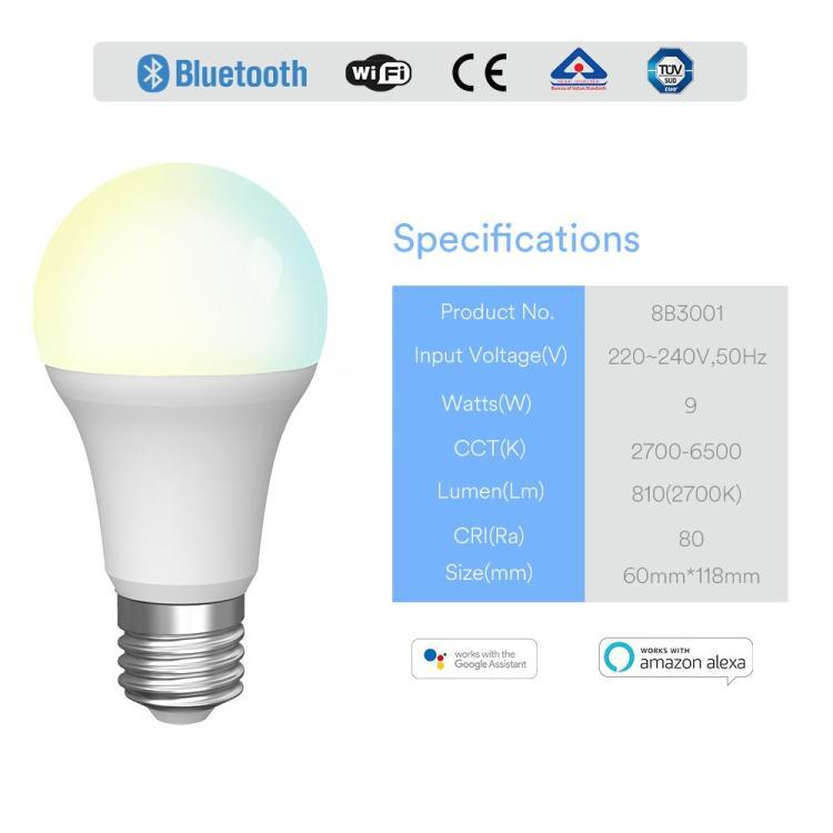 9W A60 Smart Bulb CCT
