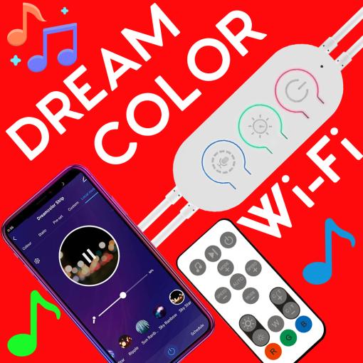 12V-24V Wi-Fi DreamColor Music LED Strip Lights Controller