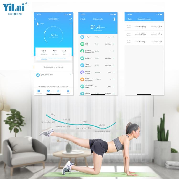 Yilai Wi-Fi Smart 15+ Function  Body Fat Scale