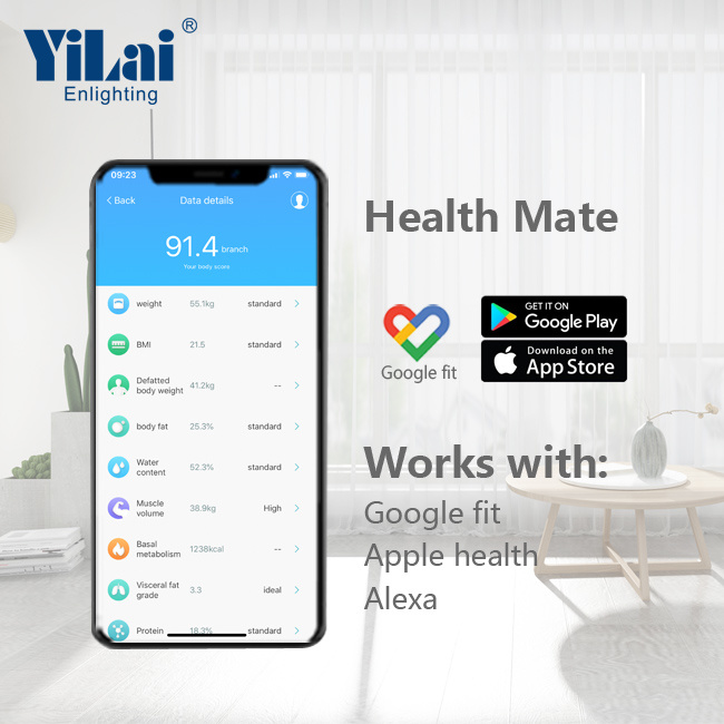 Yilai Wifi Smart 15+ function  body fat scale with ITO Tempered Glass