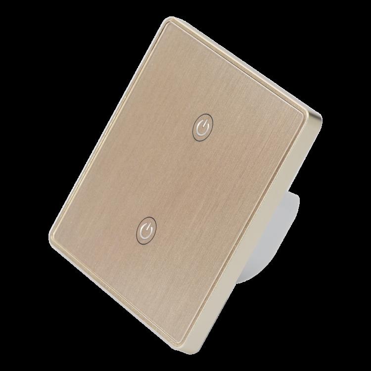 Smart 2 Gang Wi-Fi Switch With Metal Frame Glass Panel Wi-Fi Switch