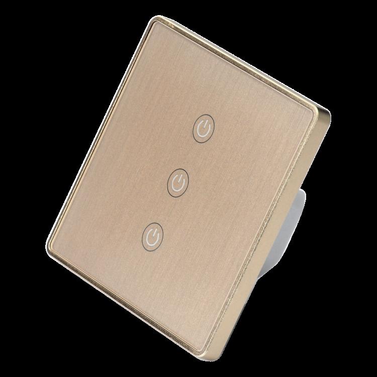Smart 3 gang wifi switch with metal frame glass panel wifi switch