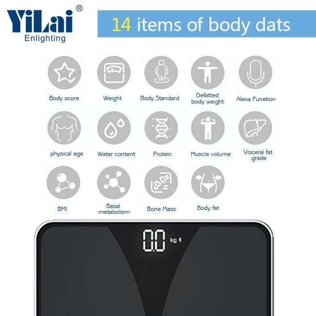 Yilai Bluetooth Smart 15+ function  body fat scale
