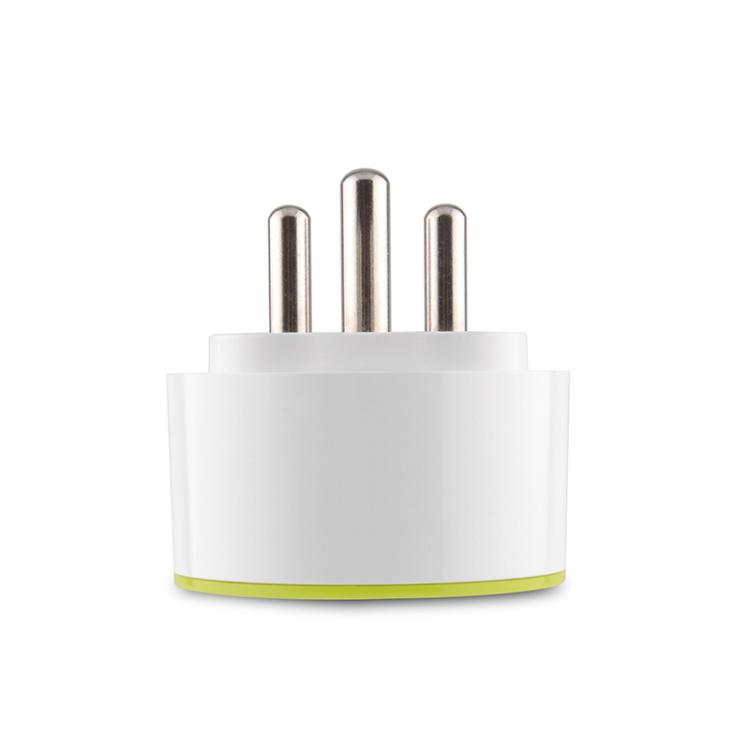 Round Green Indian Standard 16A Multi-function Smart Socket Wi-Fi Plug-Power Metering