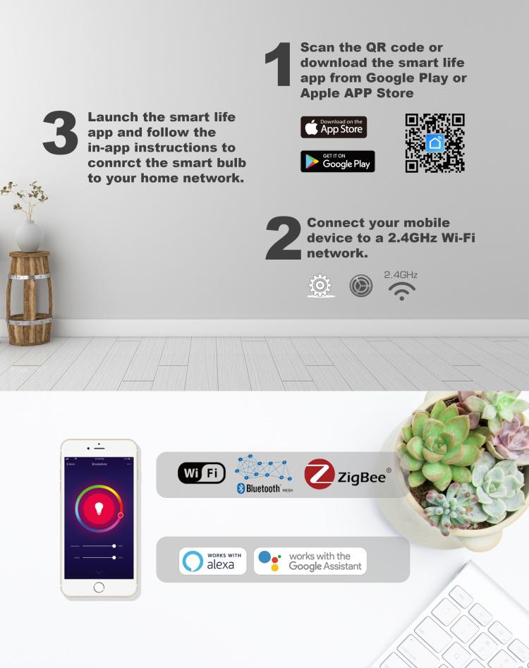 A19 Filament Smart LED Bulb  Wi-Fi+BLE CCT/W