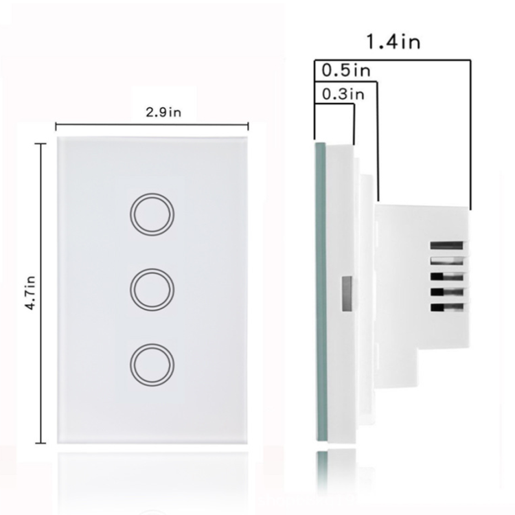 YunTian 3 Gang US Tuya Smart Google Home/Hotel Touch Sensitive Wall Light Switch With Indicator Smart Touch Electrical Switches