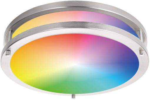 RGBCW LED Flush Mount Light Double Ring Brushed Nickel 16''