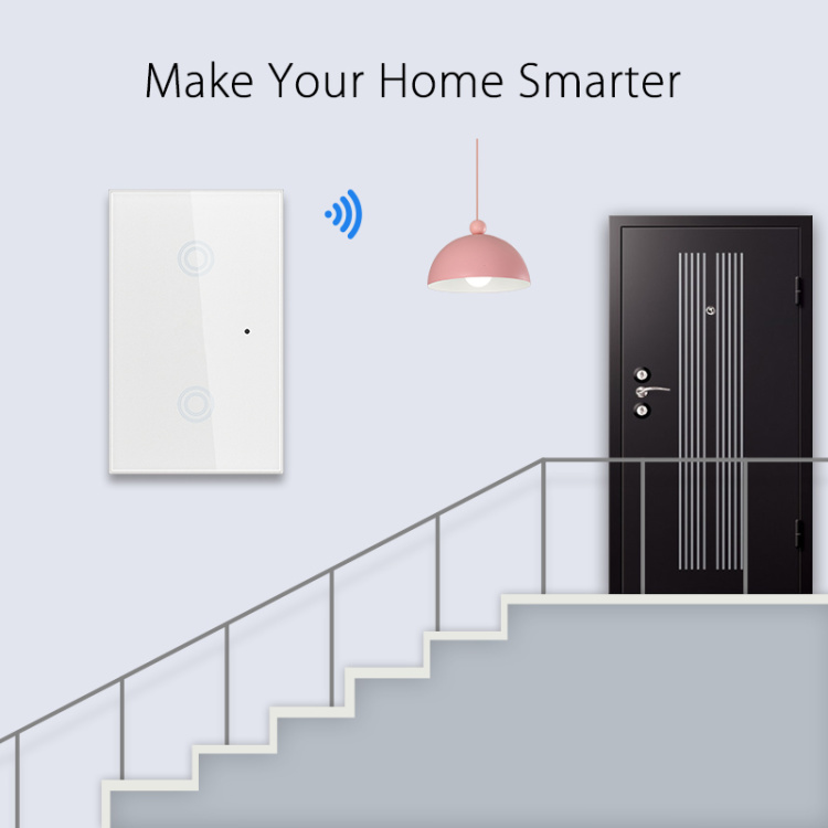 US Standard 2 Gang Touch Sensitive Wi-Fi Smart Wireless Light Switch Smart Home