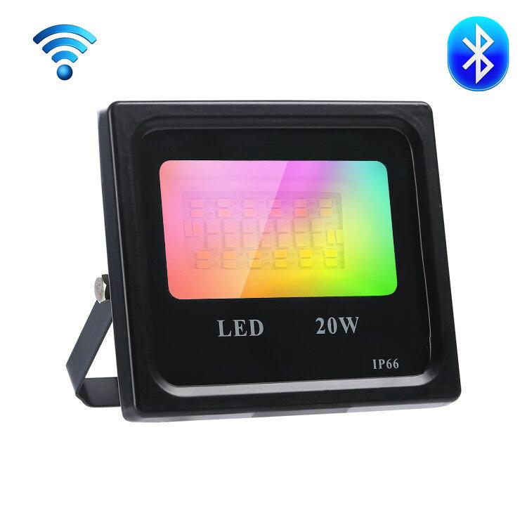 Smart Wi-Fi+Bluetooth Flood Light RGBCW 20W   Outdoor Lighting Dimmable Waterproof IP66