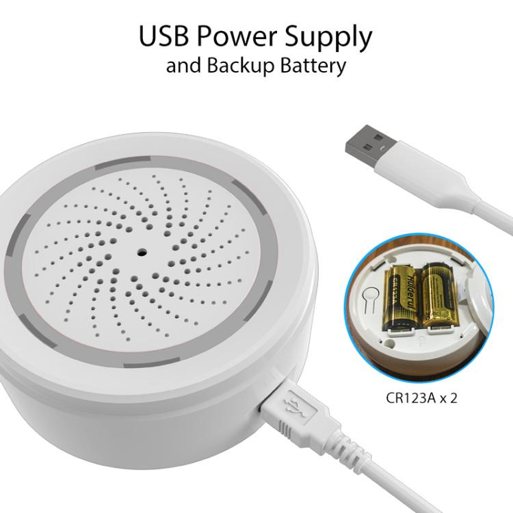 Wi-Fi USB Power Supply Siren Alarm Temperature And Humidity Alarm
