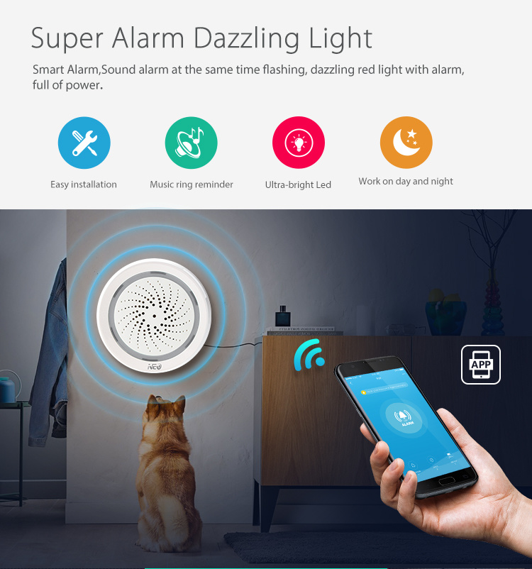 Wi-Fi USB Power Supply Siren Alarm Linkage Other Sensors
