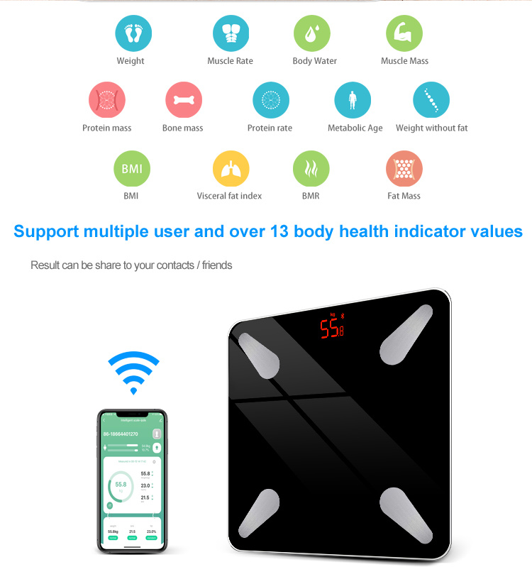 Yilai Promotion NEW Tuya Blutooth Body Fat Scale