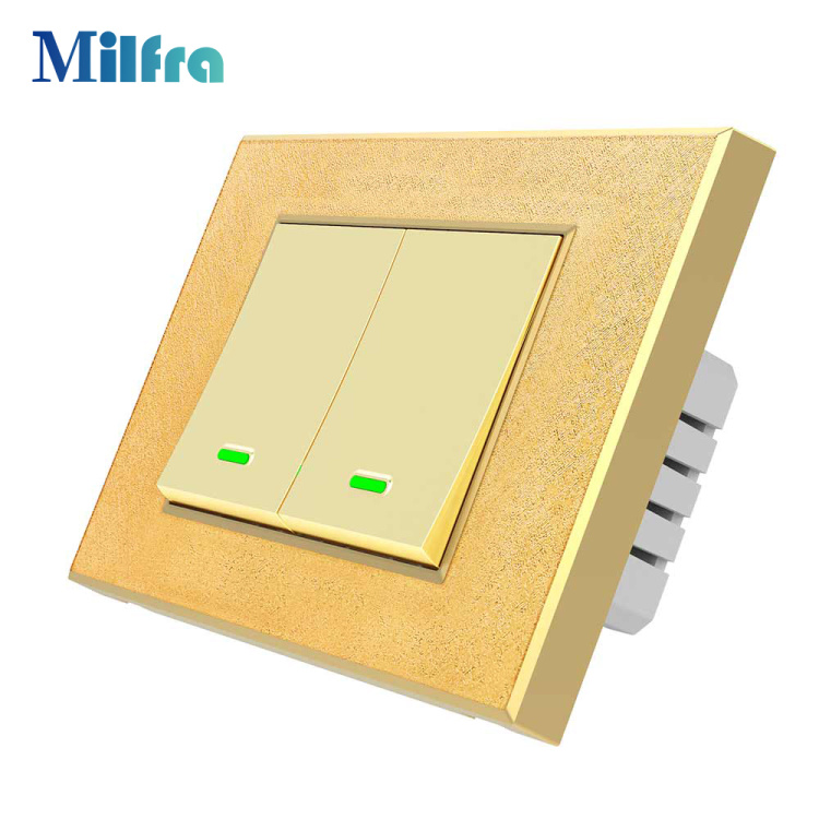 TB21 No Netural Wire Single Live Wire Smart Light Switch 1 2 3 Gang White and Gold