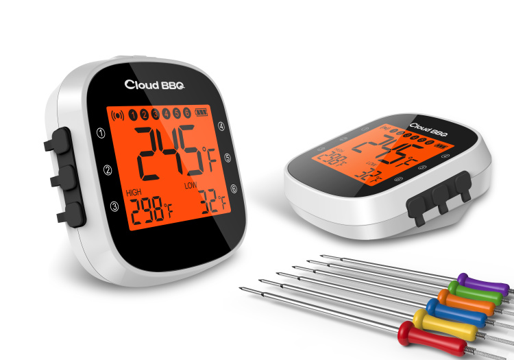 Wireless Remote Digital Meat Thermometer Bluetooth Kitchen Thermometer with 6 Temperature Probes