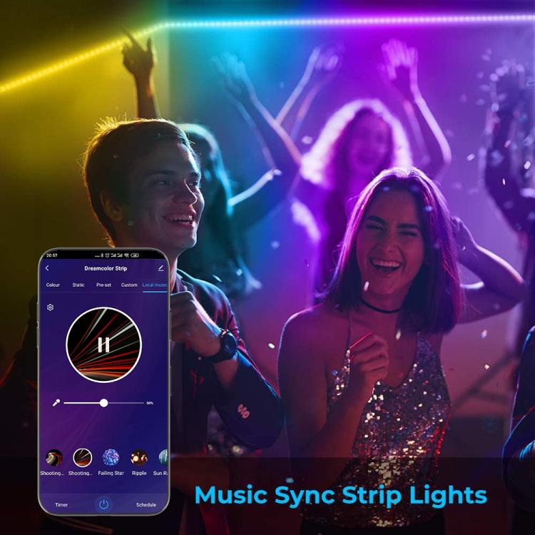 16.4ft(5M) 12V Wi-Fi DreamColor Music LED Strip Lights