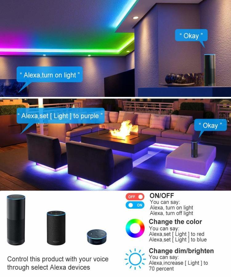 6.56ft(2M) 5V USB Wi-Fi DreamColor Music LED Strip Lights