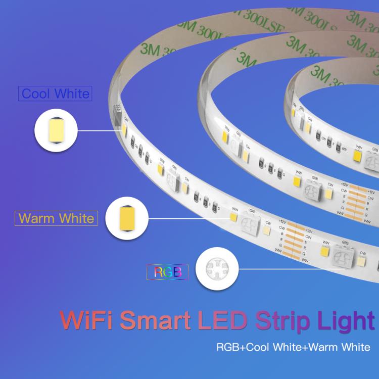 Wi-Fi Smart Strip Light 16.5ft IP65 RGB+CCT