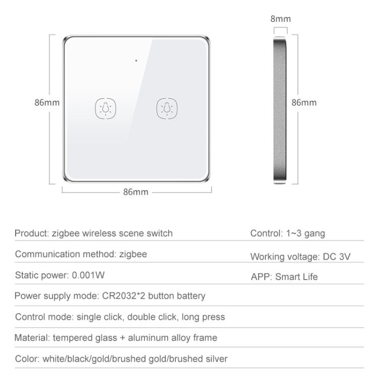 zigbee wireless scene switch 2gang