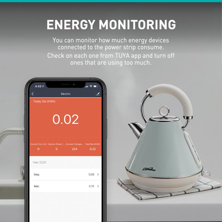 3 Sockets +3 USB Individual Control+Energy Monitoring UK Standard Smart Power Strip
