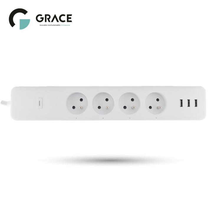 4 Sockets+3 USB Individual Control+Energy Monitoring Wi-Fi FR Standard Smart Power Strip
