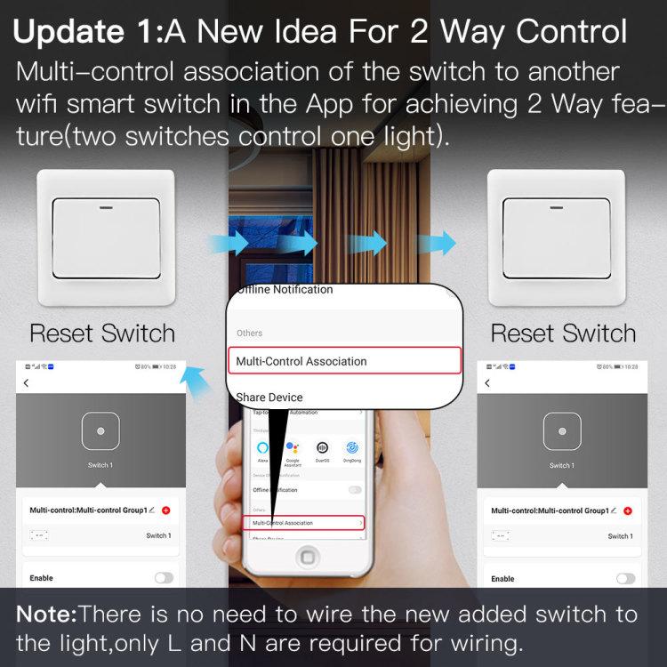 Zigbee Smart Switch Module Connected 1Gang 2 Way Switch
