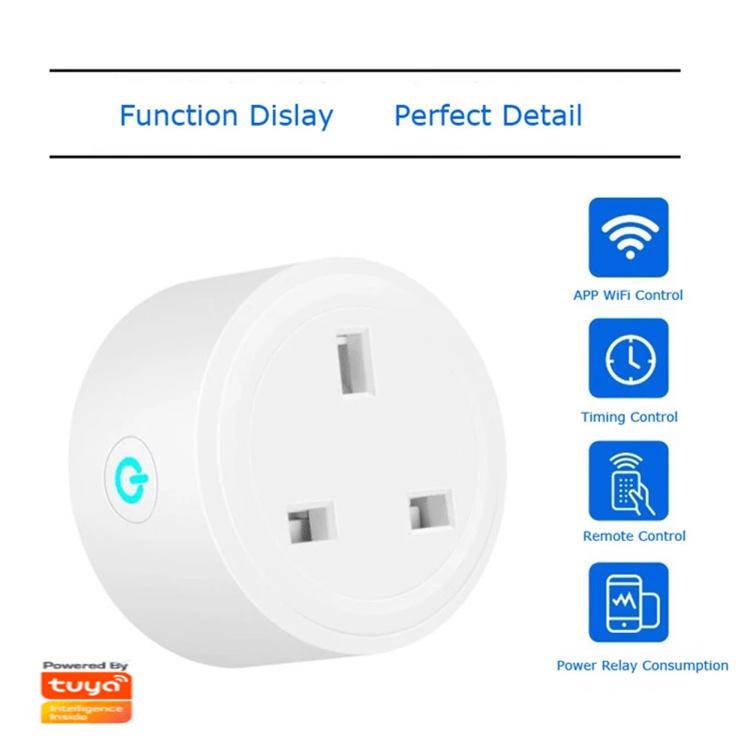 Wi-Fi Smart Plug 13A UK 3 Pin Plug Mini Smart Socket Wi-Fi Plug UK+power Monitor,Tuya