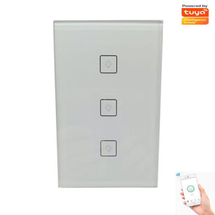 Zigbee Touch Wall Light Switch 3 gang without neutral wire Voice/APP Control Works With Alexa ,Tuya