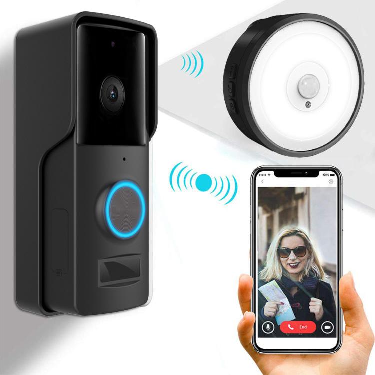 Outdoor Battery Wi-Fi Video Doorbell Camera with PIR Night Light Door Chime