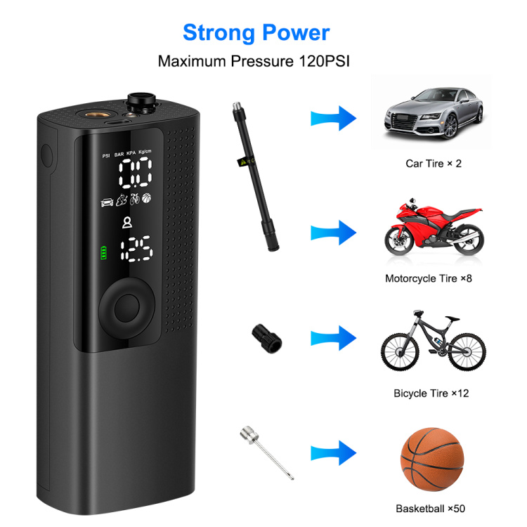 Newo Portable Automatic Inflation Deflation 120 PSI Electric  Tire Inflator Air Pump For Bicycle,E-bike,Car