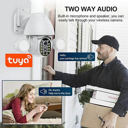 Smart Lighting Camera Tuya Flood Light Humanoid Trigger PTZ Wifi IP AI Auto Tracking Audio 3MP Security CCTV Vedio Surve