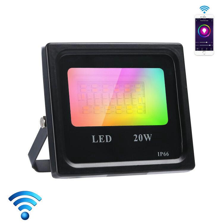RGBCW Smart Flood Light  20W Wi-Fi+bluetooth outdoor Lighting Dimmable Waterproof IP66