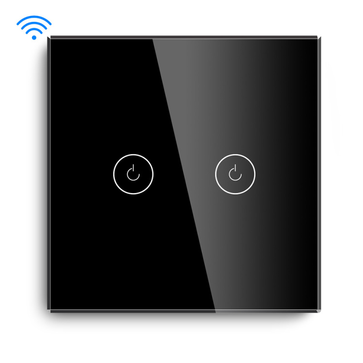 Smart 2 Gang 1000W White/Gold/Black/Grey Wifi Wall Switch