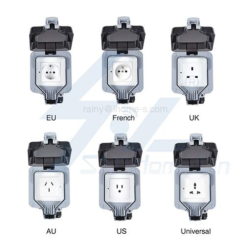 Tuya EU/AU/French/UK/Italy/Universal Smart wifi outdoor waterproof IP66 socket work with alexa