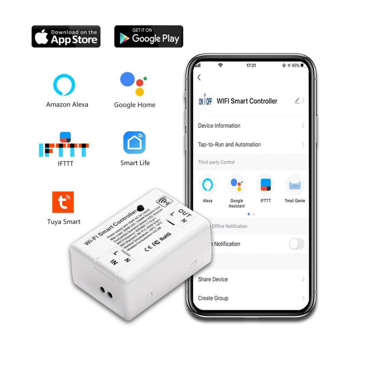 Bingoelec New Smart Wi-Fi Controller Onoff Switch WIFI TUYA Alexa Echo IFTT Wi-Fi Mini Controller Smart Wall Switch