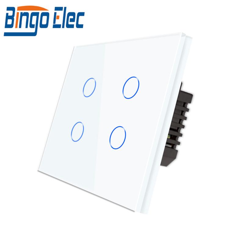 Bingoelec Voice Control Light Wall WiFi Switch Tuya App Control 4 Gang Wall Switch Socket EU Standard