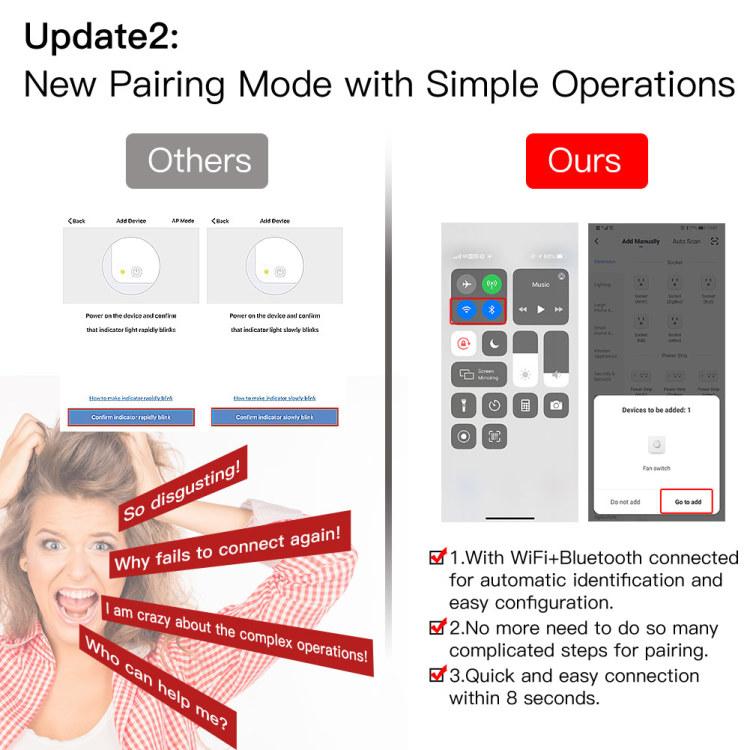Wi-Fi+RF Smart Fan Switch 90-250V 50/60HZ touch switch