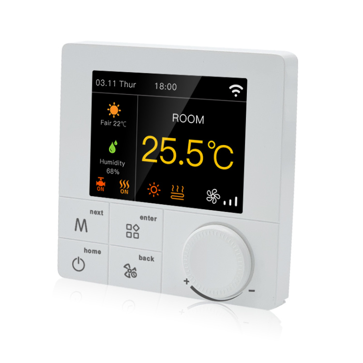 R8C.853 RGB Colorful LCD Wi-Fi/485 Modbus Fan Coil Thermostat For 4-pipe System Works With Alexa And Google
