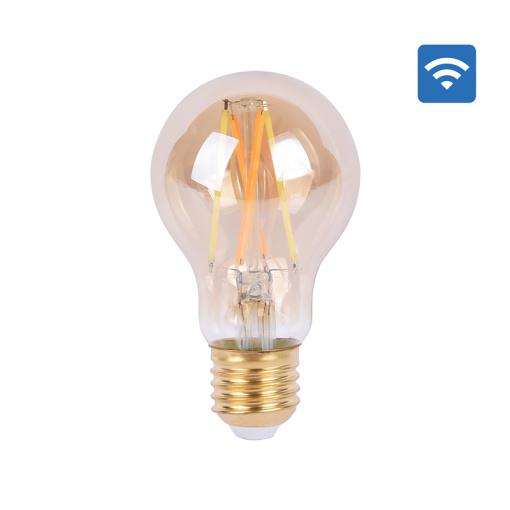 Amber Glass Body LED Light Bulb Alexa Voice Control, 5.5W A60 Smart Wi-Fi LED Filament Bulb