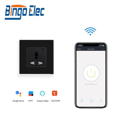 Bingoelec Universal Wi-Fi Socket,White Black Wall Smart Socket 16A Work For Google Home,Alexa,Smart LifeTuya APP