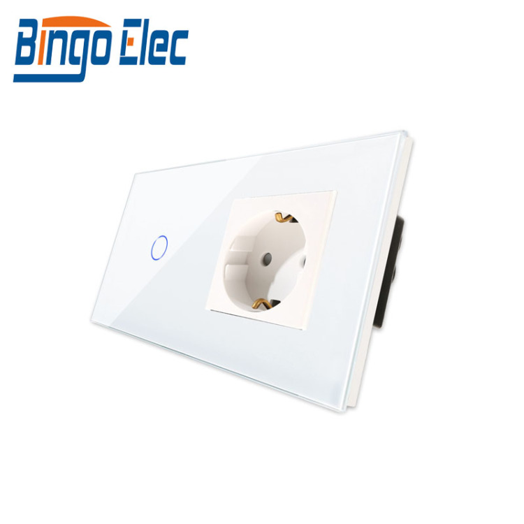 Bingoelec 1 Gang 1 Way WI-FI Touch Switch With Germany Socket EU Standard Crystal Glass Panel Smart Home Wall Switch