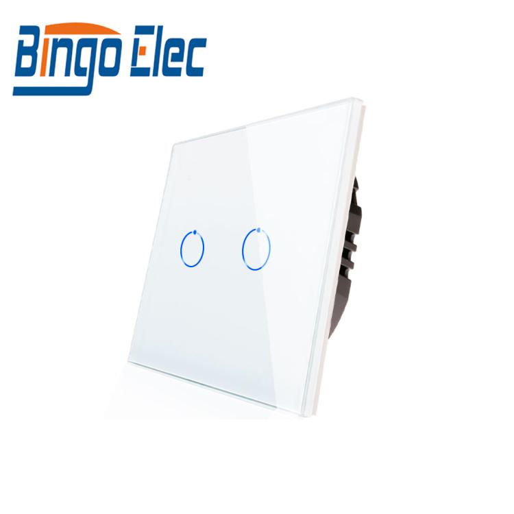 Bingoelec EU UK Standard Home Voice Control Wall Switches 2 Gang Light Touch Switch Alexa Tuya Smart Switch Wi-Fi Socket