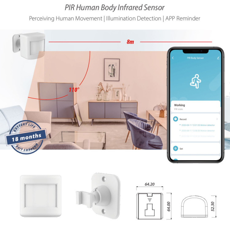 PIR Human Body Infrared Transducer Wi-Fi Smart Sensor