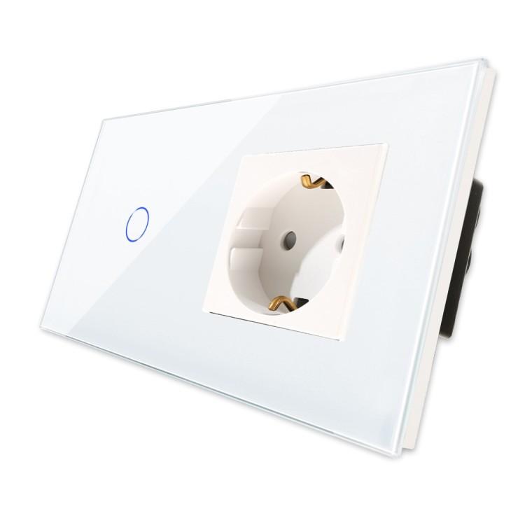 Bingoelec 1 Gang 1 Way Wi-Fi Touch Switch With Germany Socket EU Standard Crystal Glass Panel Smart Home Wall Socket