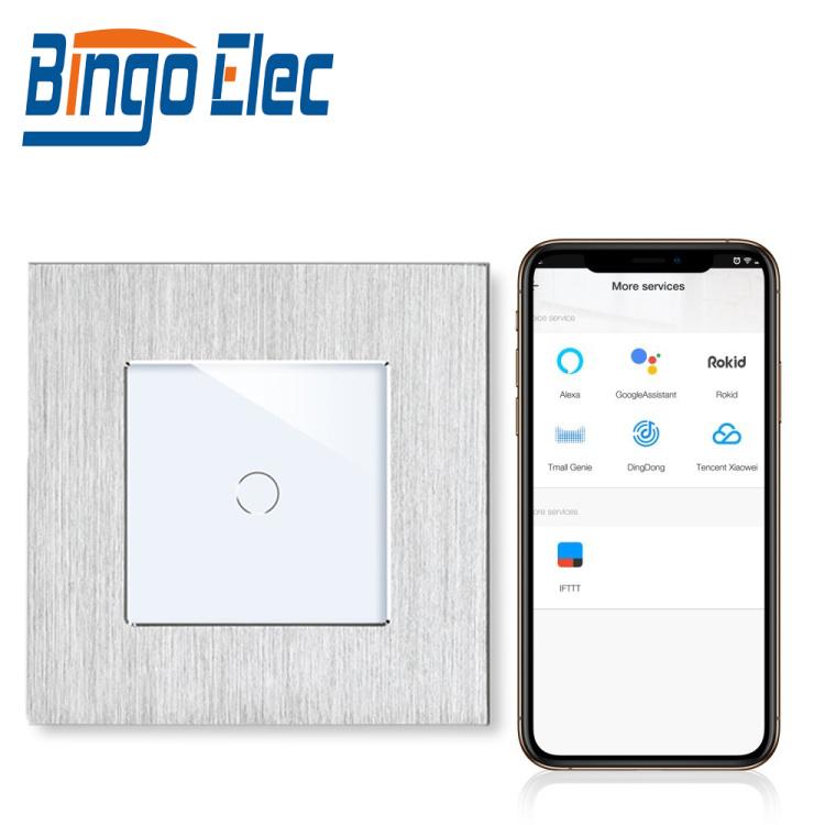 Bingoelec 1Gang 1 Way Smart Light Switch Neutral and Live Wire Aluminum Panel Tuya Alexa Waterproof Wall Switch