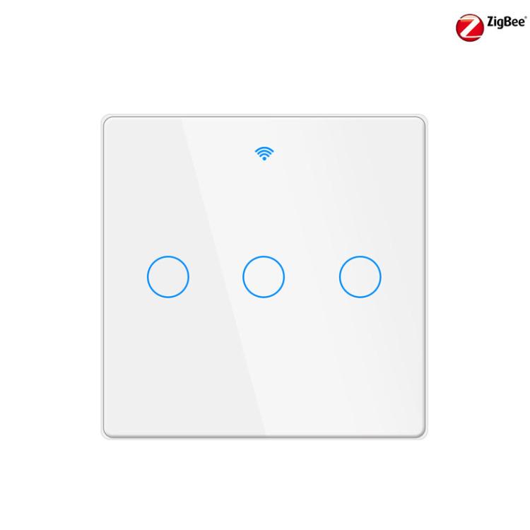 GDKES ZIGBEE 16A Fingerprint Proof 2.5D Glass Touch  Switch 3 Gang
