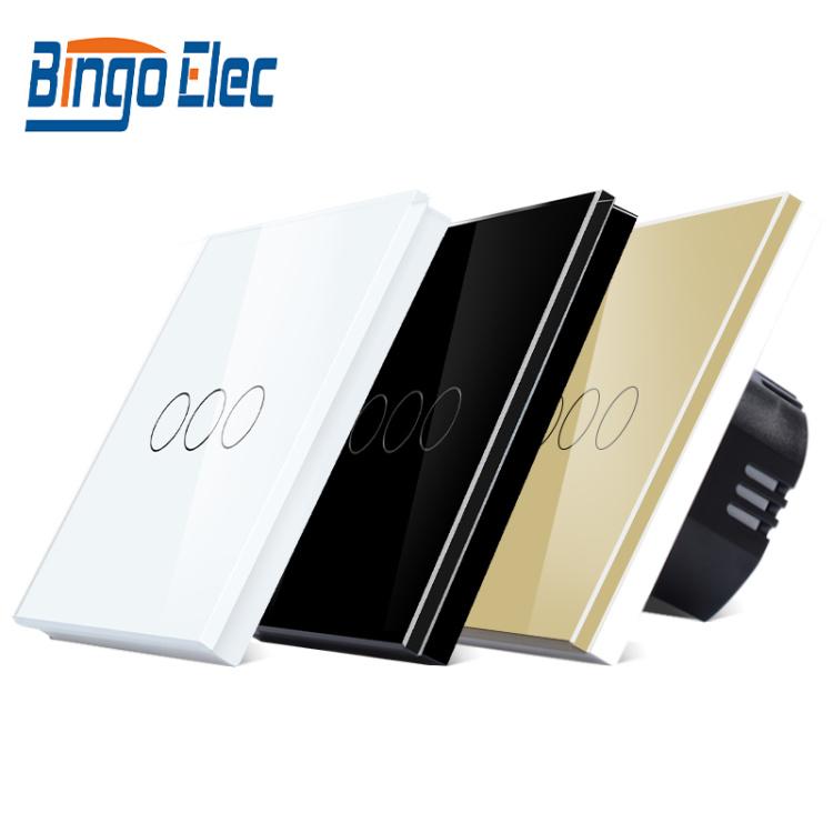 Bingoelec Smart Wi-Fi Switch 3 Gang 1 Way RF Wilress Touch Switch EU Standard Light Wall Switch