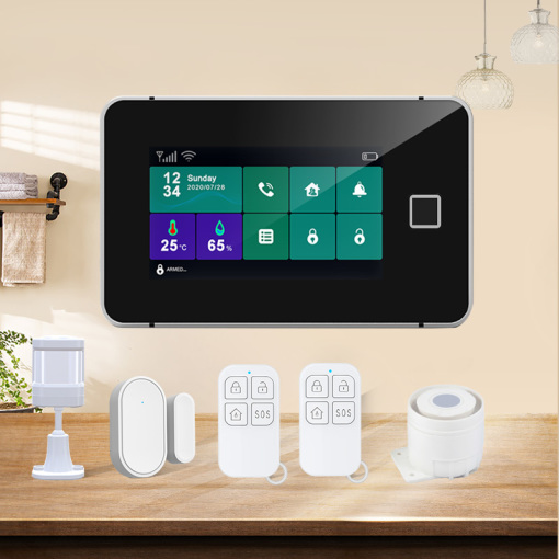 Wi-Fi GSM Alarm System 433MHz Home Burglar Alarm with TFT Touch Keyboard Fingerprint Arming Temperature Humidity Display